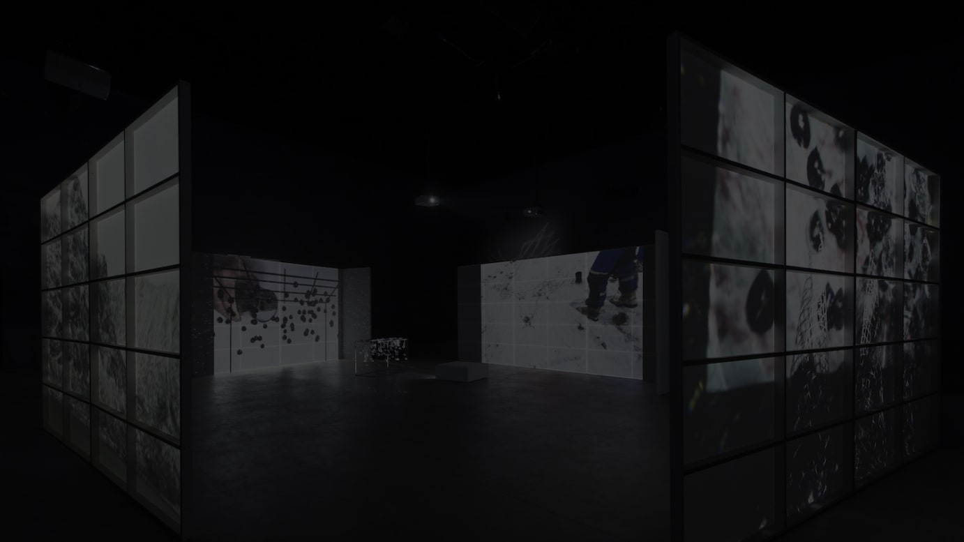 Joan Jonas, Reanimation, 2010/2012/2014. Installation view of the exhibition, Light Time Tales, Hangar Bicocca, Italy, 2014. Photo by Agostino Osio