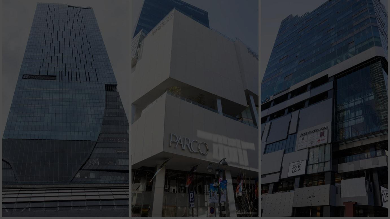 今年開業した商業施設(左から)渋谷スクランブルスクエア、渋谷パルコ、「東急プラザ渋谷」が入居する渋谷フクラス