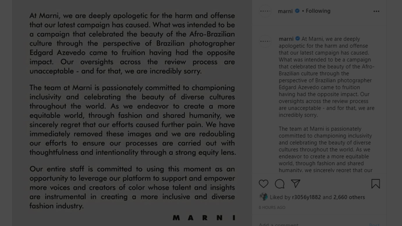 「マルニ」がインスタグラムに投稿した謝罪文