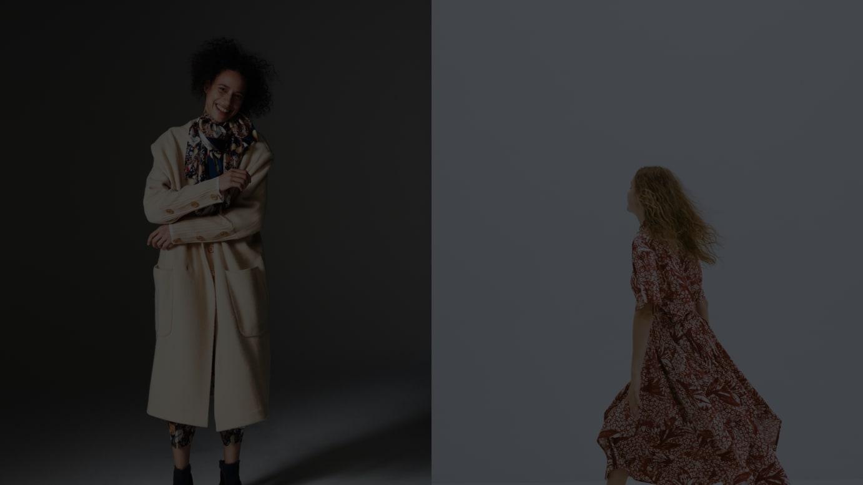 (左から)「メルシーボークー、」「ネ・ネット」2020年秋冬コレクションより