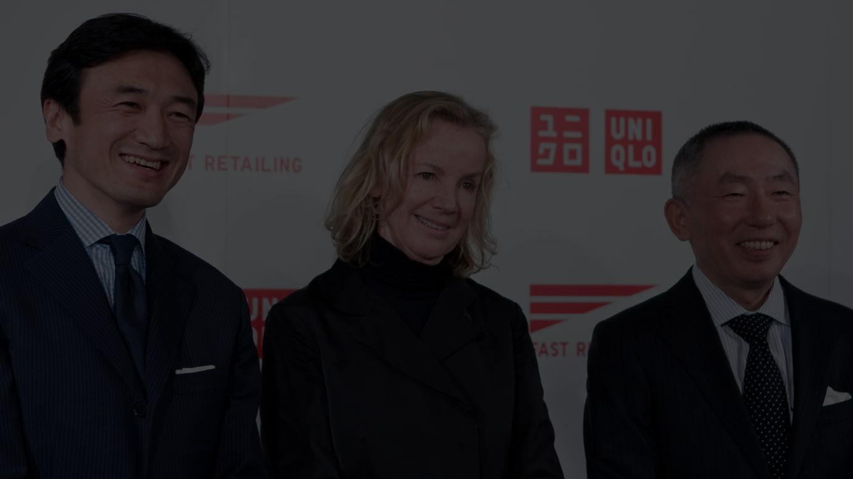 左から 勝田幸宏氏、ジルサンダー氏、柳井正氏