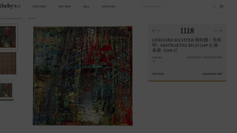 ポーラ美術館が落札したゲルハルト・リヒターの「Abstraktes Bild(649-2)」