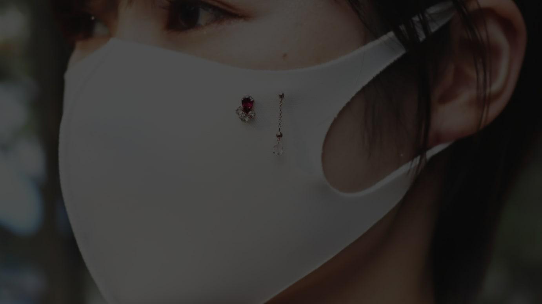マスク用ピアス着用写真