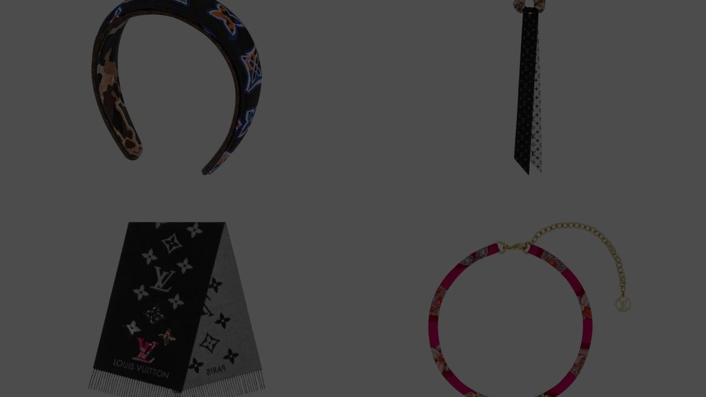 (左上から時計回り)ヘアバンド 4万6000円、シュシュ 2万6000円、コリエ・ビーマインドフル 5万円、スカーフ 13万3000円(すべて税別)