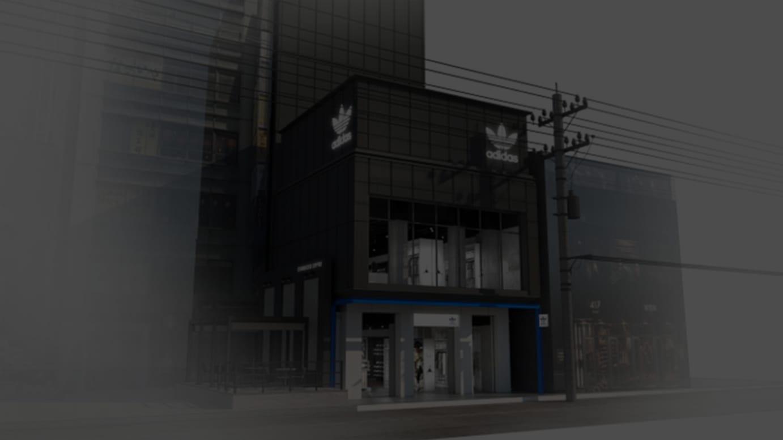 「アディダス オリジナルス フラッグシップ ストア 新宿」外観イメージ