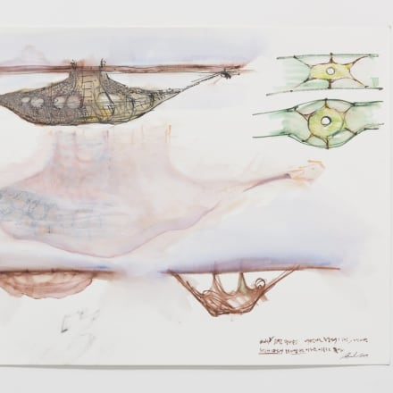 Lee Bul, Study for DMZ Jung-ja Project 1, 2017, pencil, watercolor ink, acrylic paint on paper