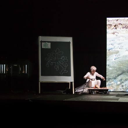 Joan Jonas, Reanimation, 2012, performance at Hangar Bicocca, Milan, Italy, Light Time Tales, 2014.  Photo by Moira Ricci