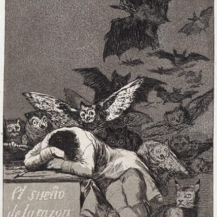 フランシスコ・ホセ・デ・ゴヤ・イ・ルシエンテス  「ロス・カプリーチョス:理性の眠りは怪物を生む」 1799年 Image by 国立西洋美術館蔵