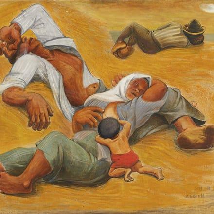 阿部合成 「百姓の昼寝」 1938年 Image by 東京国立近代美術館蔵
