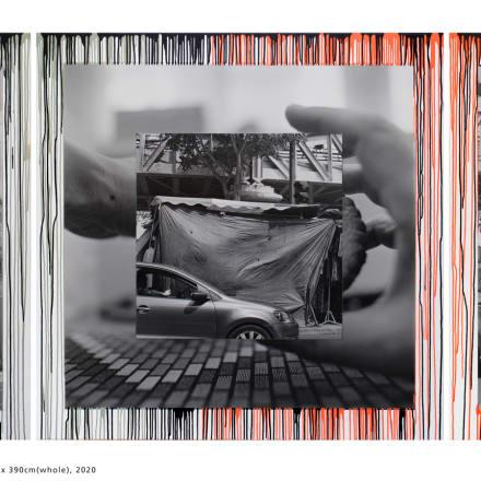.オノデラユキ(1962〜)Darkside of the Moon No.1, 2020 gelatin silver print, drip painting, collage on canvas 130 x 130 cm (each) / 130 x 390 cm (whole), triptych Unique