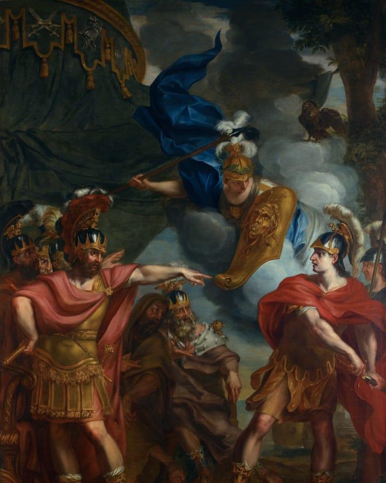 「アキレスとアガメムノンの口論」 エラルート・デ・ライレッセ (1640-1711)、ベルギー、油絵・キャンバス、H 3000mm x W 2140mm