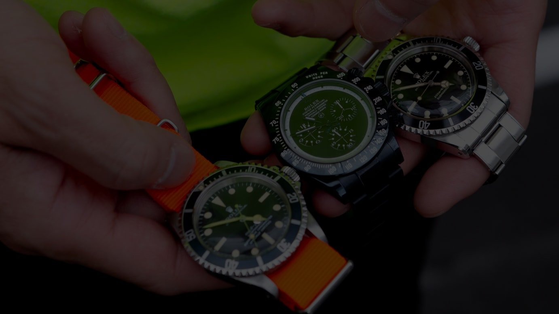 (左から)サブマリーナRef:5513、DAYTONA-FRAGMENT DESIGN×BAMFORD WATCH DEPARTMENT、サブマリーナRef:5513