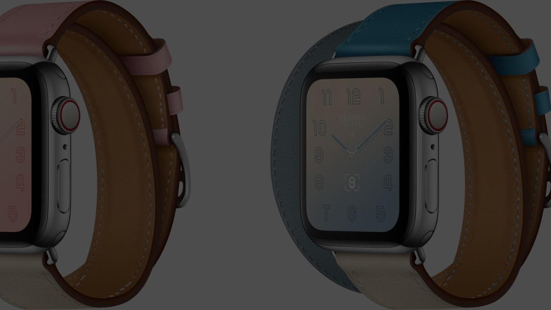 「アップルウォッチ エルメス」ドゥブルトゥールレザーストラップの新色(左から)「ローズ・サクラ/クレ/アルジル」「ブルー・ラン/クレ/ブルー・デュ・ノール」