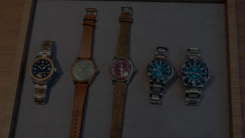 写真左から)ダイバーズ65、ビッグクラウン ポインターデイト 80THアニバーサリーエディション、ビッグクラウン ポインターデイト、クリーンオーシャン リミテッドエディション、グレートバリアリーフ リミテッドエディション