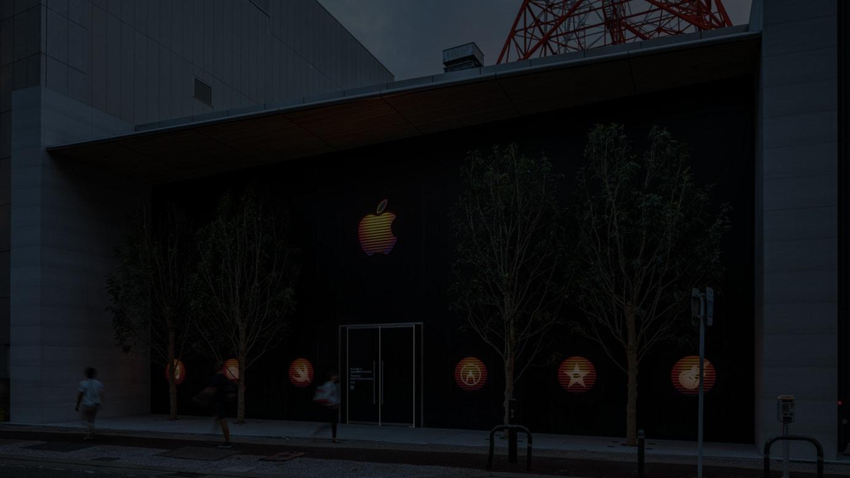 Apple 福岡がオープン予定地の仮囲い