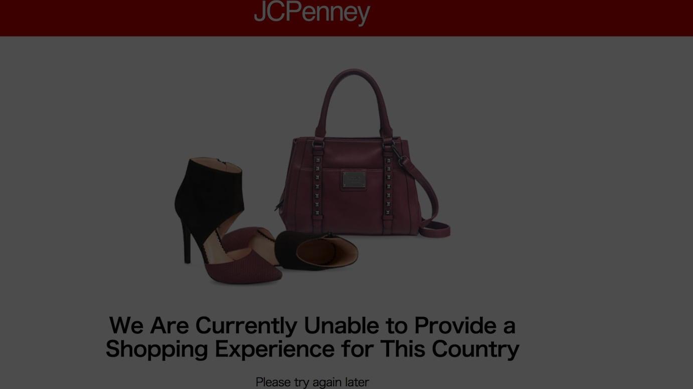 JCペニーの公式サイトは利用不可の状態となっている