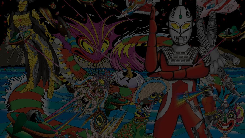 Keiichi Tanaami「Ultra-man」2018 Pigmented ink, acrylic silkscreen medium, crashed glass, glitter acrylic paint, acrylic paint on canvas ©Keiichi Tanaami Courtesy of NANZUKA
