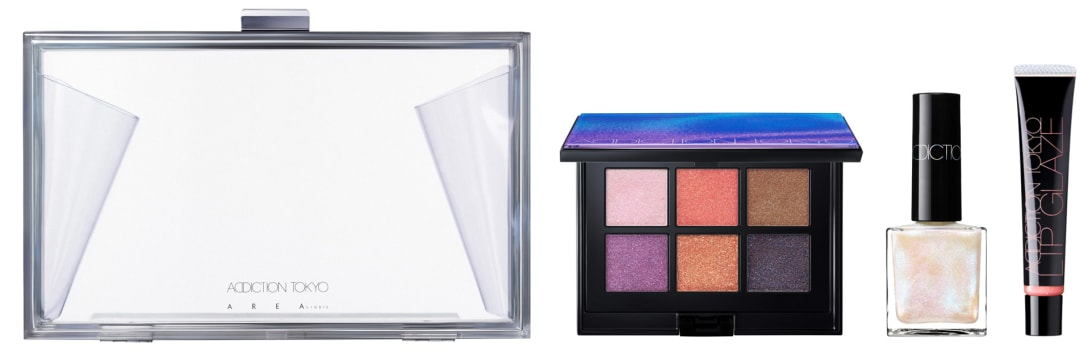 "「ホリデー アディクション ""イリディセント ユーフォリア""」(8000円)(左から)CLUTCH BAG、EYESHADOW PALETTE L(101 IRIDESCENT EUPHORIA)、THE NAIL POLISH L(101SP Splendor)、LIP GLAZE L(101 Gilded Talk)"