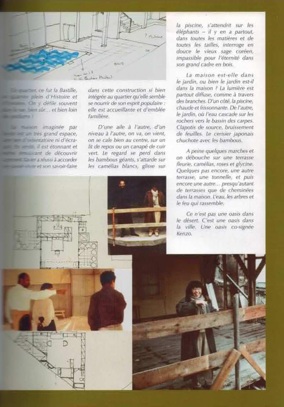高田賢三の邸宅を紹介する冊子の1ページ。設計図や、グザヴィエの姿も。 Image by Aguttes
