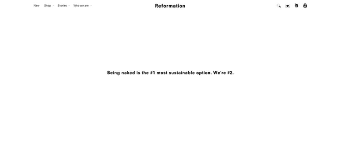 """↑キャッチコピーは""""Being naked is the #1 most sustainable option. We're #2. : 一番環境に優しいのは何も着ないこと。私たちは2番目ね """""""