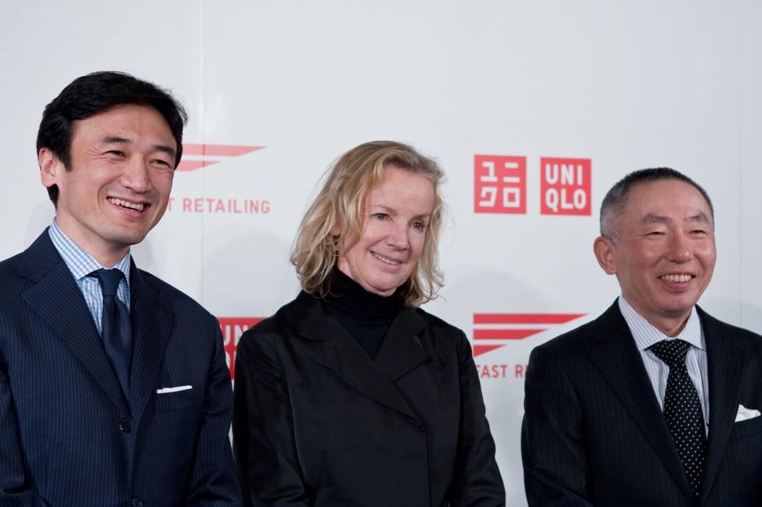 記者会見の様子。写真左から、勝田幸宏、ジル・サンダー、柳井正