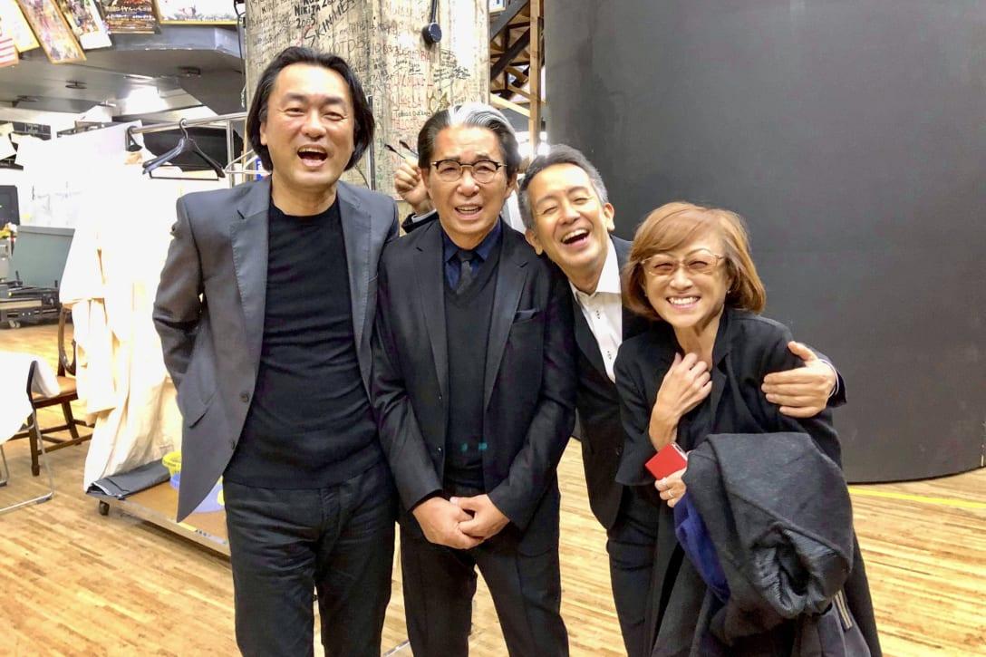 (左から)柘植伊佐夫さん、高田賢三さん、宮本亞門さん、鈴木三月(筆者提供)