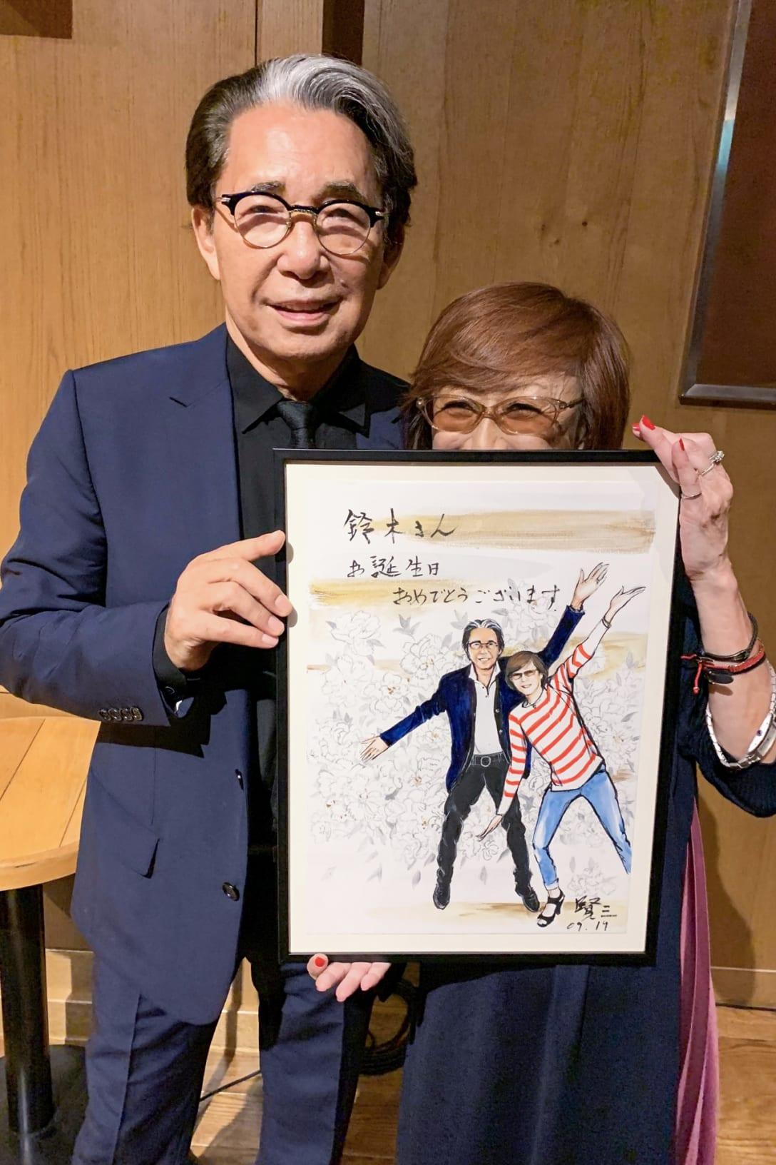 賢三さんから贈られた2ショットの絵(筆者提供)