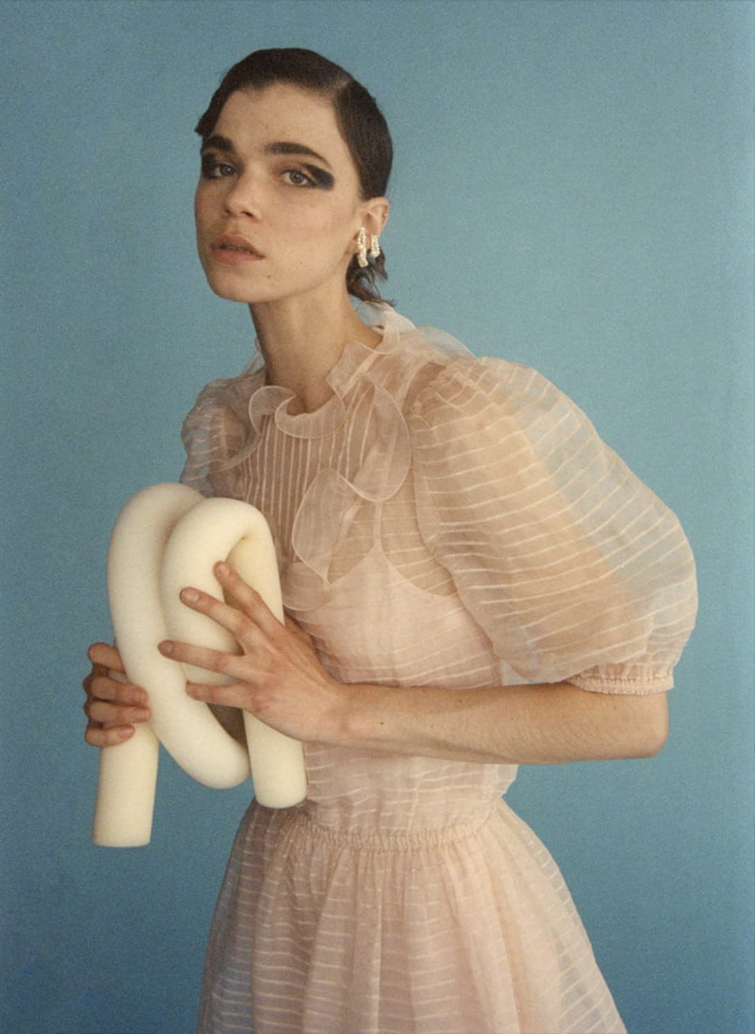 dress by REDVALENTINO, earrings by COMPLETEDWORKS