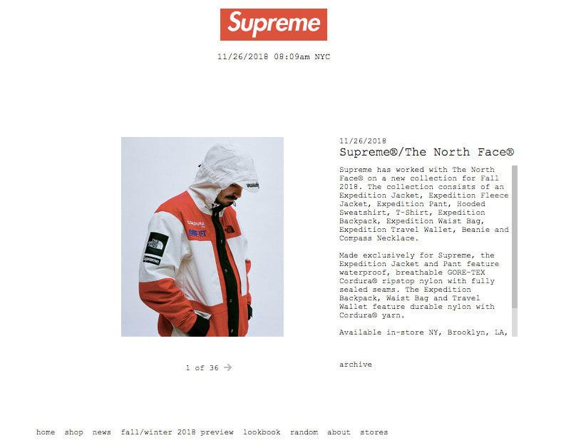 08c55c2bb5c1 「シュプリーム(Supreme®)」が、「ザ・ノース・フェイス(THE NORTH  FACE)」とのコラボレーションアイテムを発売する。日本では12月1日から展開される。