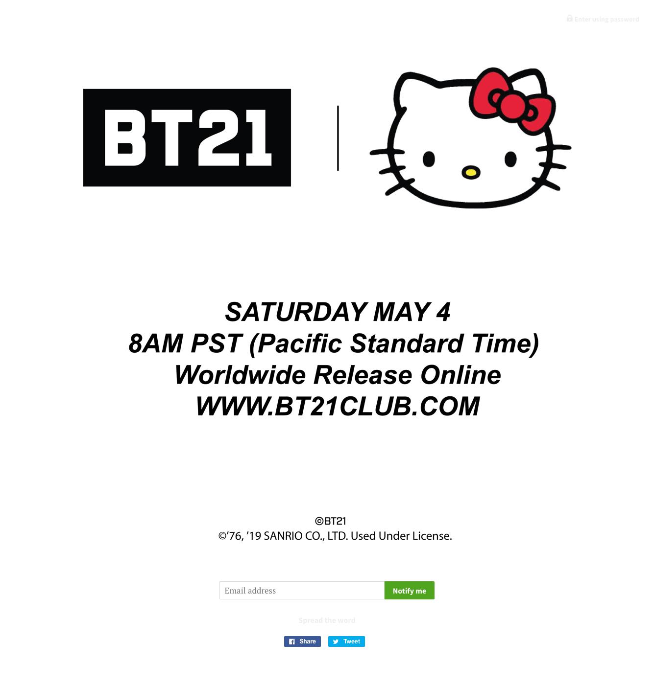 BTSのキャラクター「BT21」とハローキティがコラボ、5月4日に発売